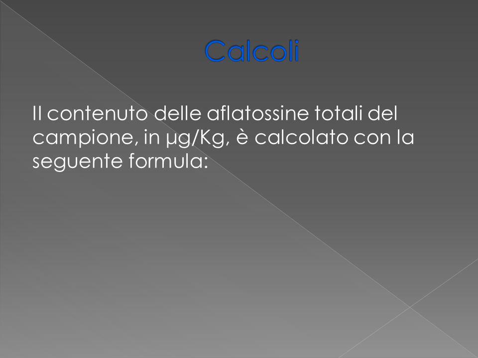 Calcoli II contenuto delle aflatossine totali del campione, in μg/Kg, è calcolato con la seguente formula:
