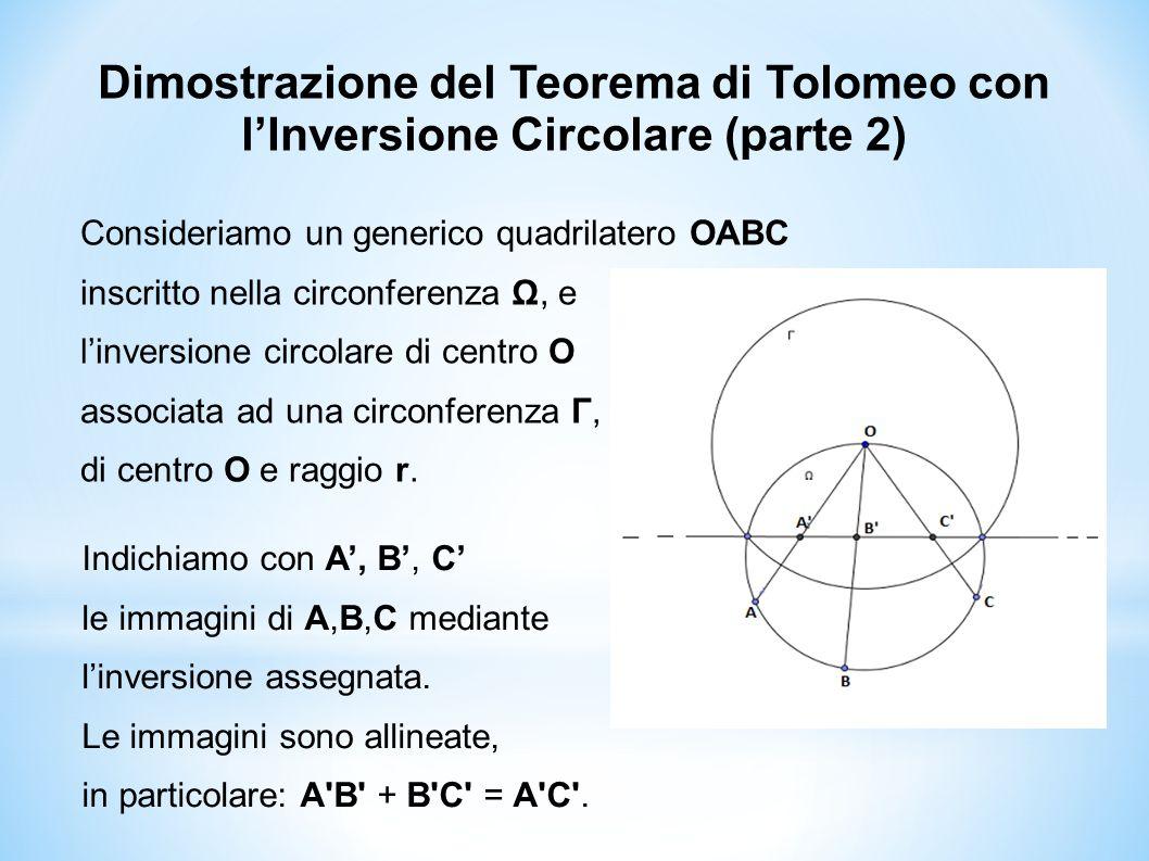 Dimostrazione del Teorema di Tolomeo con l'Inversione Circolare (parte 2)