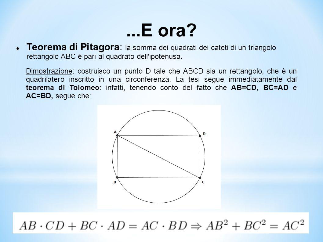 ...E ora Teorema di Pitagora: la somma dei quadrati dei cateti di un triangolo rettangolo ABC è pari al quadrato dell ipotenusa.