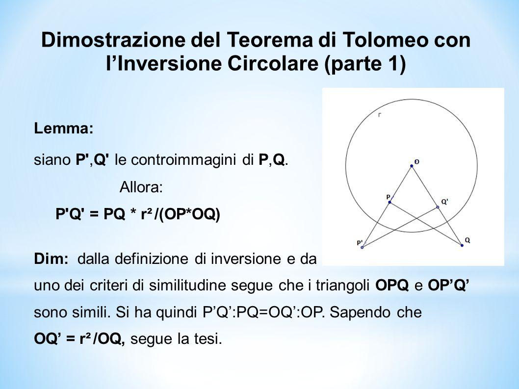 Dimostrazione del Teorema di Tolomeo con l'Inversione Circolare (parte 1)