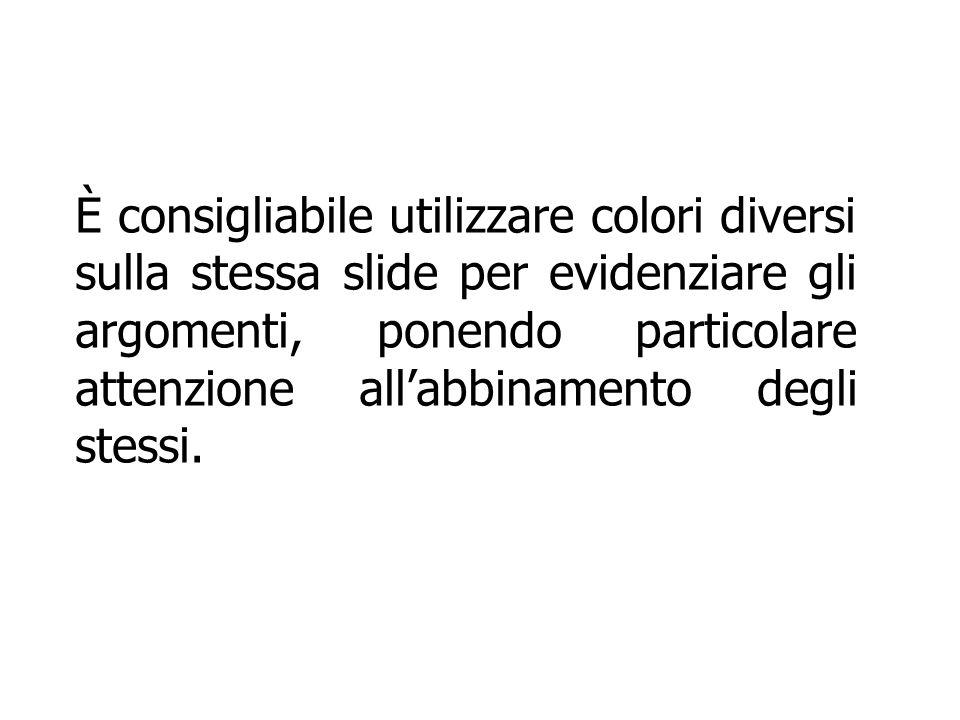 È consigliabile utilizzare colori diversi sulla stessa slide per evidenziare gli argomenti, ponendo particolare attenzione all'abbinamento degli stessi.