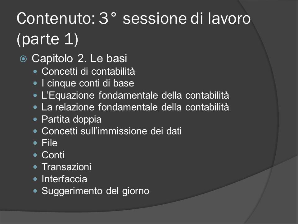 Contenuto: 3° sessione di lavoro (parte 1)