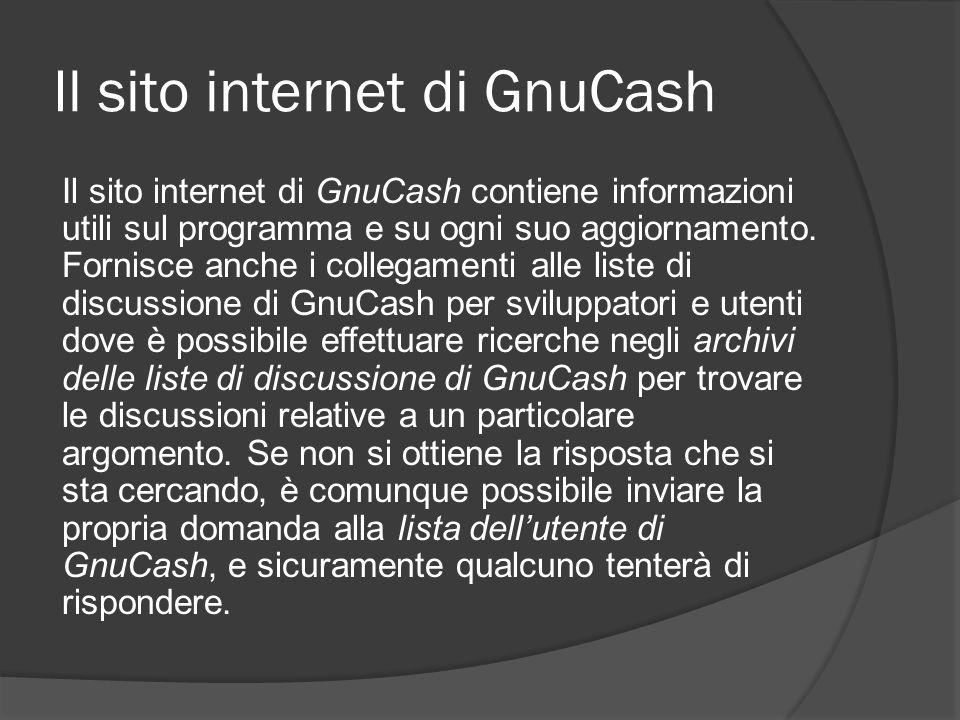Il sito internet di GnuCash