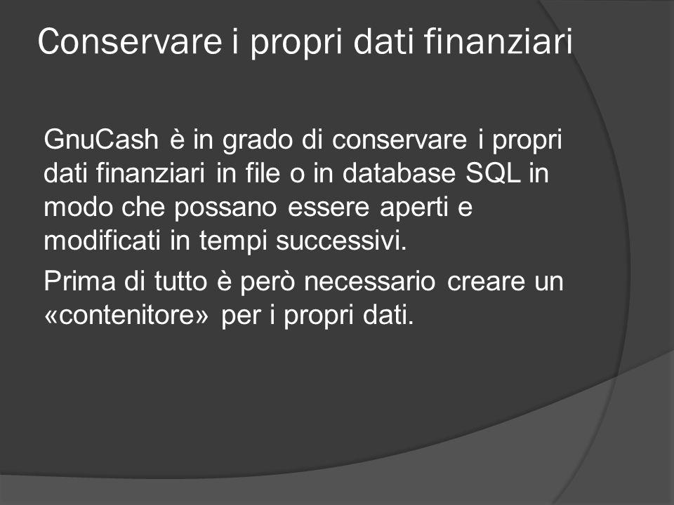 Conservare i propri dati finanziari