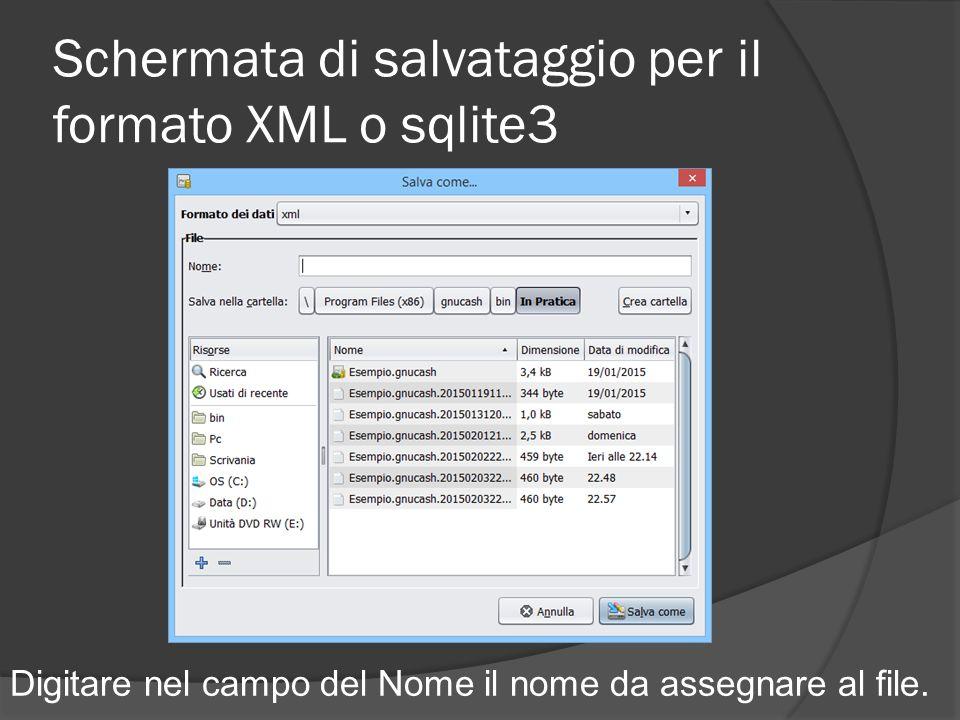 Schermata di salvataggio per il formato XML o sqlite3