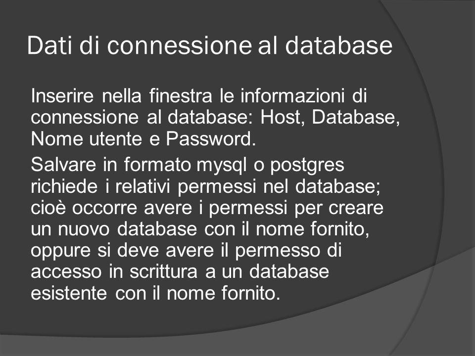 Dati di connessione al database