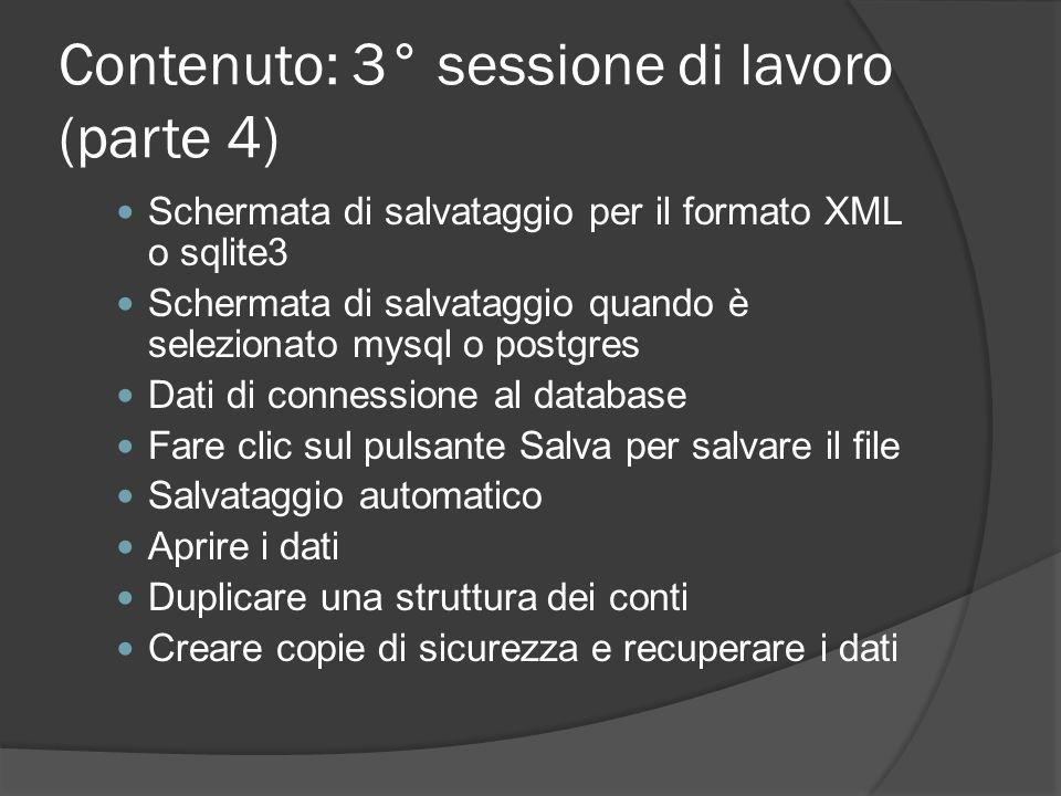 Contenuto: 3° sessione di lavoro (parte 4)