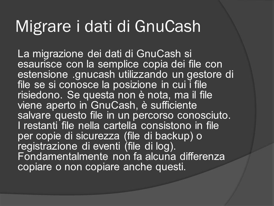 Migrare i dati di GnuCash