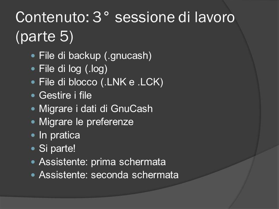 Contenuto: 3° sessione di lavoro (parte 5)