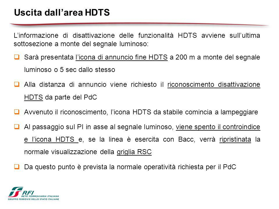 Uscita dall'area HDTS L'informazione di disattivazione delle funzionalità HDTS avviene sull'ultima sottosezione a monte del segnale luminoso: