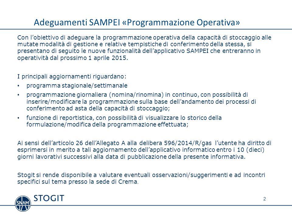 Adeguamenti SAMPEI «Programmazione Operativa»