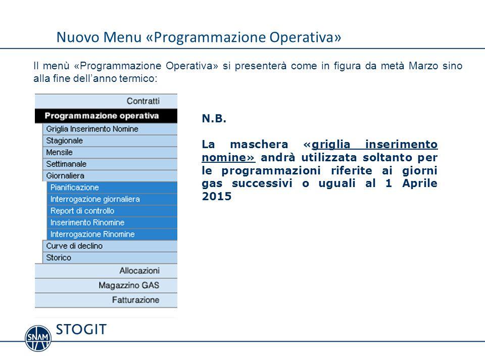 Nuovo Menu «Programmazione Operativa»