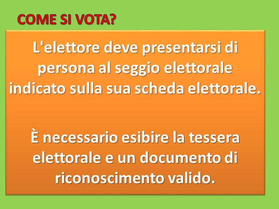 COME SI VOTA L elettore deve presentarsi di persona al seggio elettorale indicato sulla sua scheda elettorale.