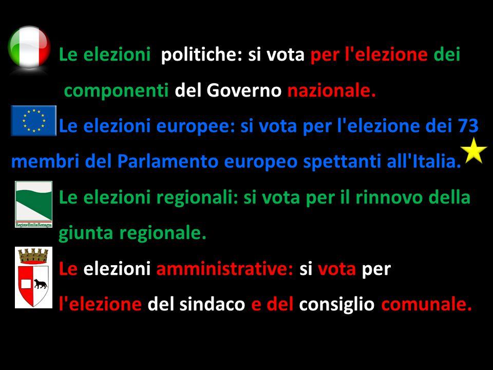 Le elezioni politiche: si vota per l elezione dei