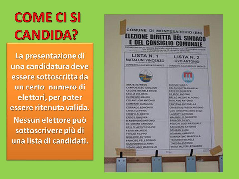 Nessun elettore può sottoscrivere più di una lista di candidati.