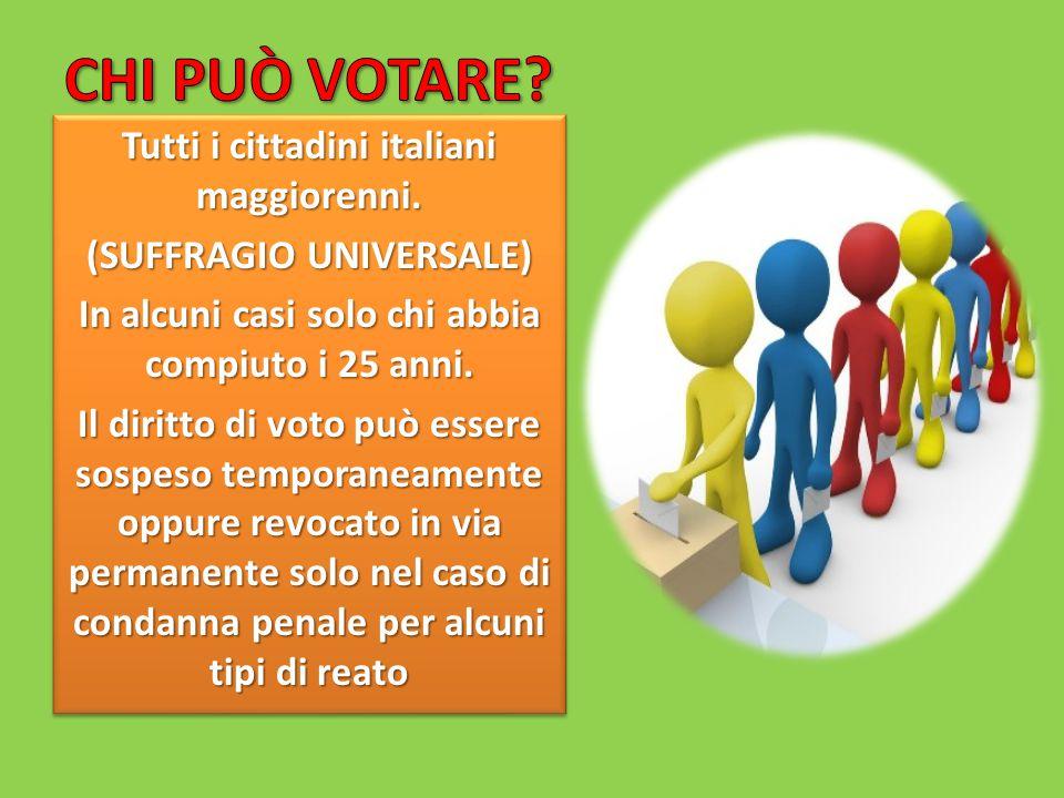 CHI PUÒ VOTARE Tutti i cittadini italiani maggiorenni.