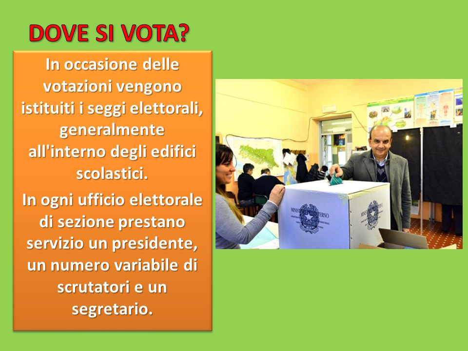 DOVE SI VOTA In occasione delle votazioni vengono istituiti i seggi elettorali, generalmente all interno degli edifici scolastici.