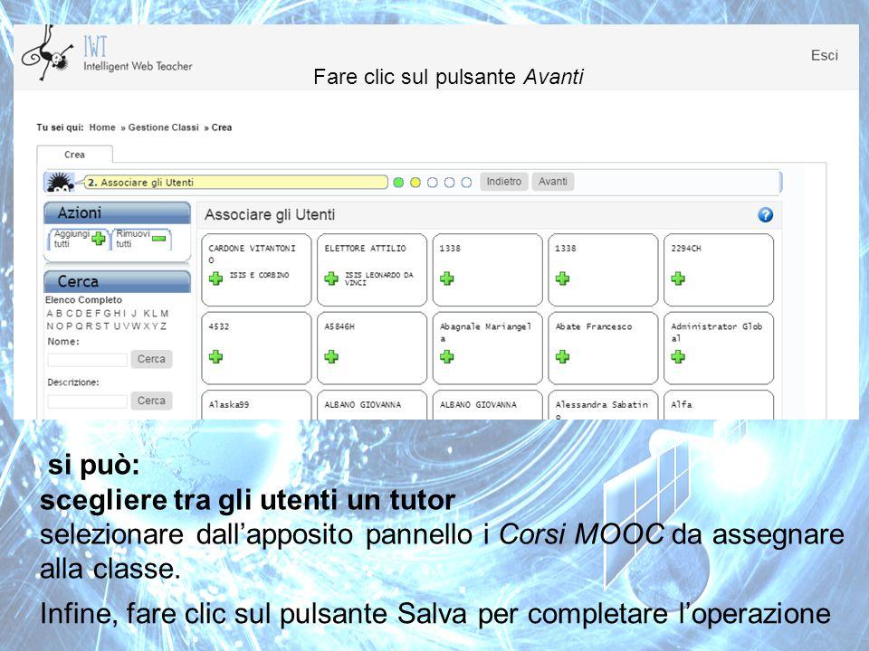 scegliere tra gli utenti un tutor
