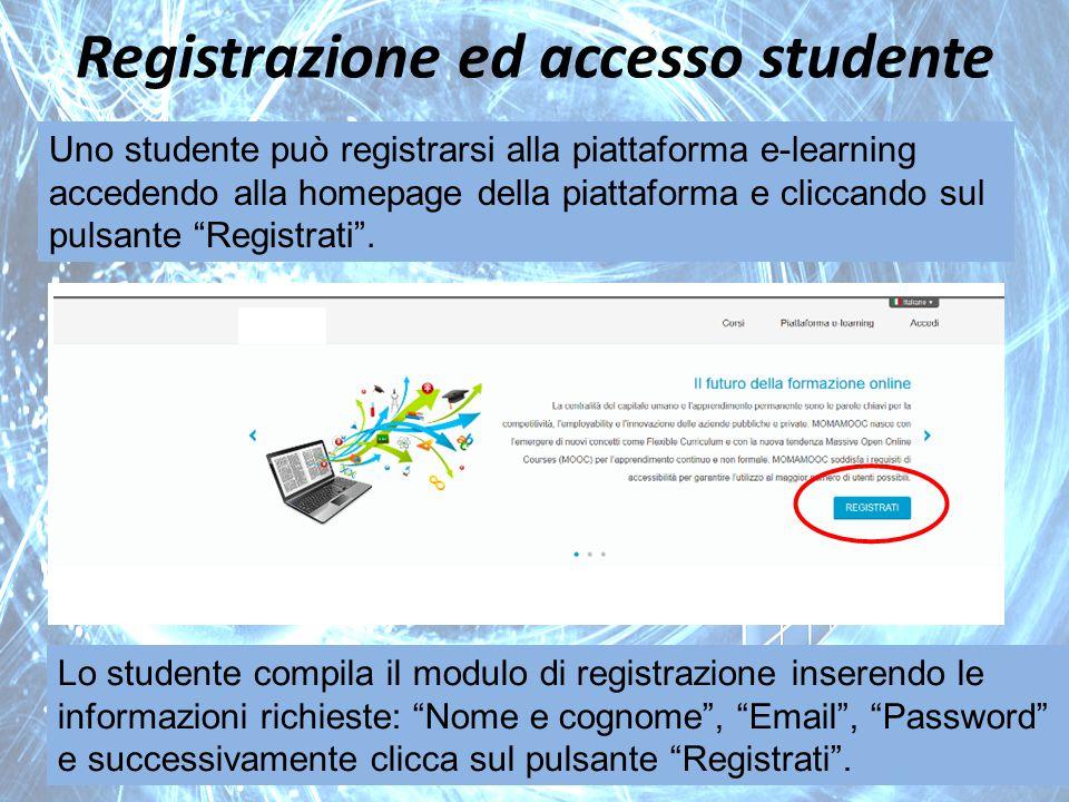 Registrazione ed accesso studente