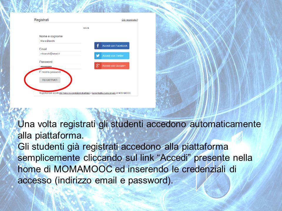 Una volta registrati gli studenti accedono automaticamente alla piattaforma.