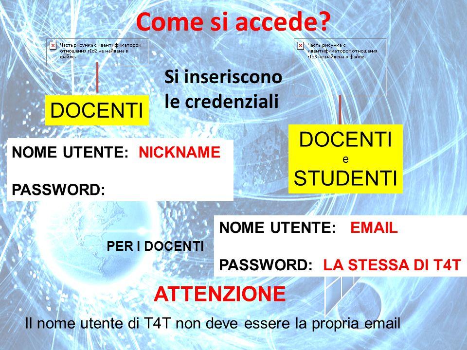 Come si accede Si inseriscono le credenziali DOCENTI DOCENTI STUDENTI