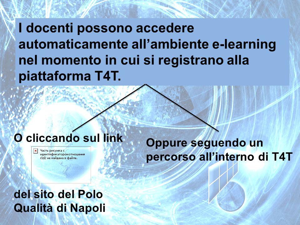 I docenti possono accedere automaticamente all'ambiente e-learning nel momento in cui si registrano alla piattaforma T4T.