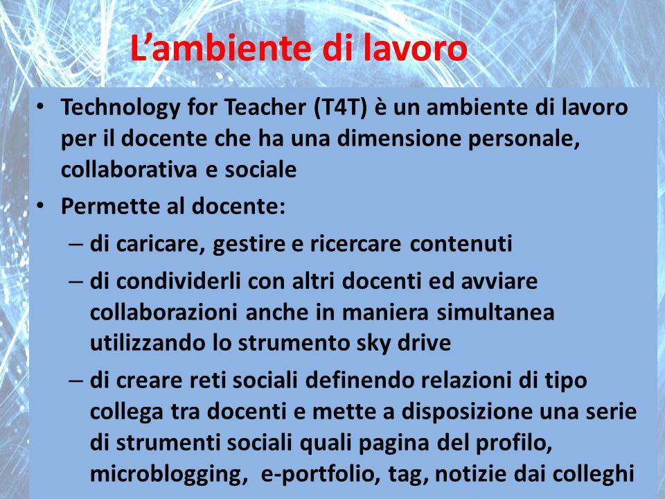 L'ambiente di lavoro Technology for Teacher (T4T) è un ambiente di lavoro per il docente che ha una dimensione personale, collaborativa e sociale.