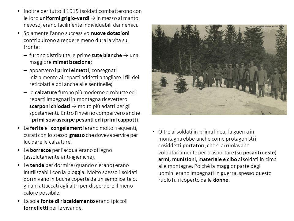Inoltre per tutto il 1915 i soldati combatterono con le loro uniformi grigio-verdi → in mezzo al manto nevoso, erano facilmente individuabili dai nemici.