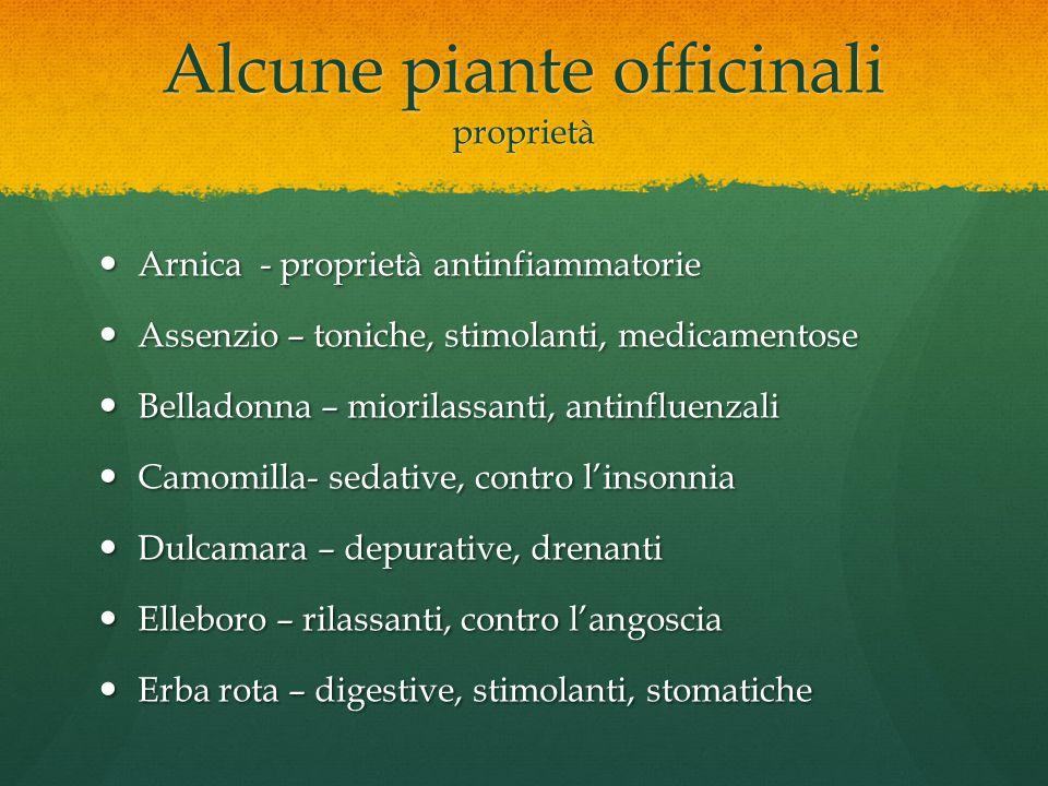 Alcune piante officinali proprietà
