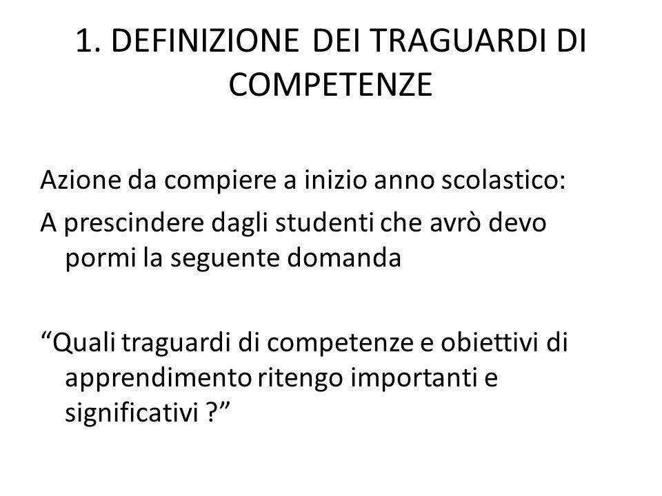 1. DEFINIZIONE DEI TRAGUARDI DI COMPETENZE