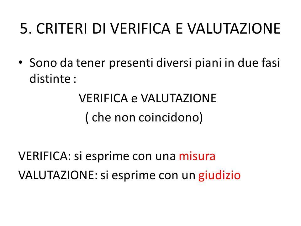 5. CRITERI DI VERIFICA E VALUTAZIONE