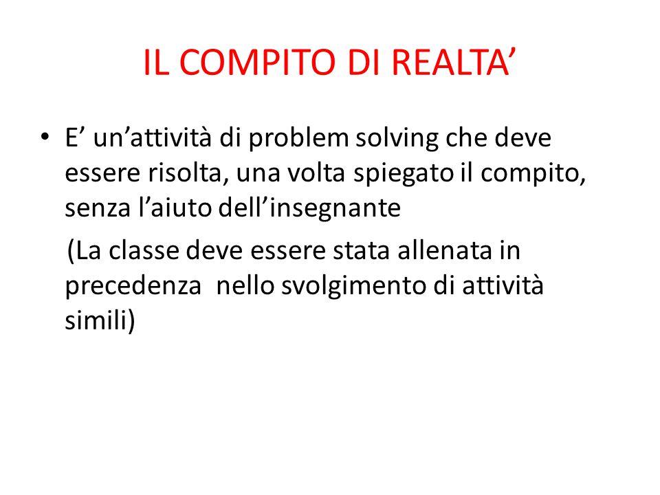 IL COMPITO DI REALTA' E' un'attività di problem solving che deve essere risolta, una volta spiegato il compito, senza l'aiuto dell'insegnante.