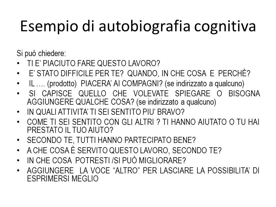 Esempio di autobiografia cognitiva