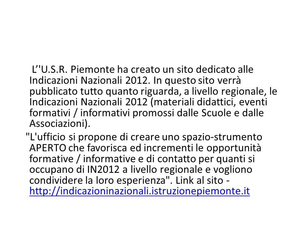 L' U.S.R. Piemonte ha creato un sito dedicato alle Indicazioni Nazionali 2012.