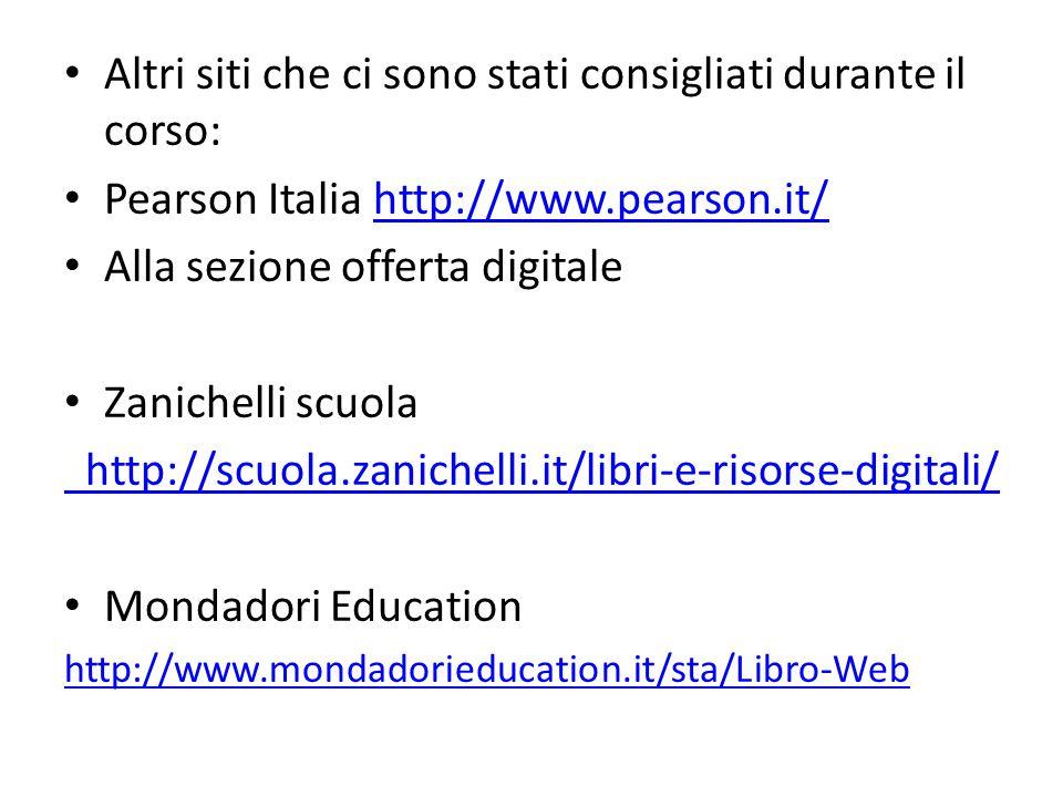 Altri siti che ci sono stati consigliati durante il corso: