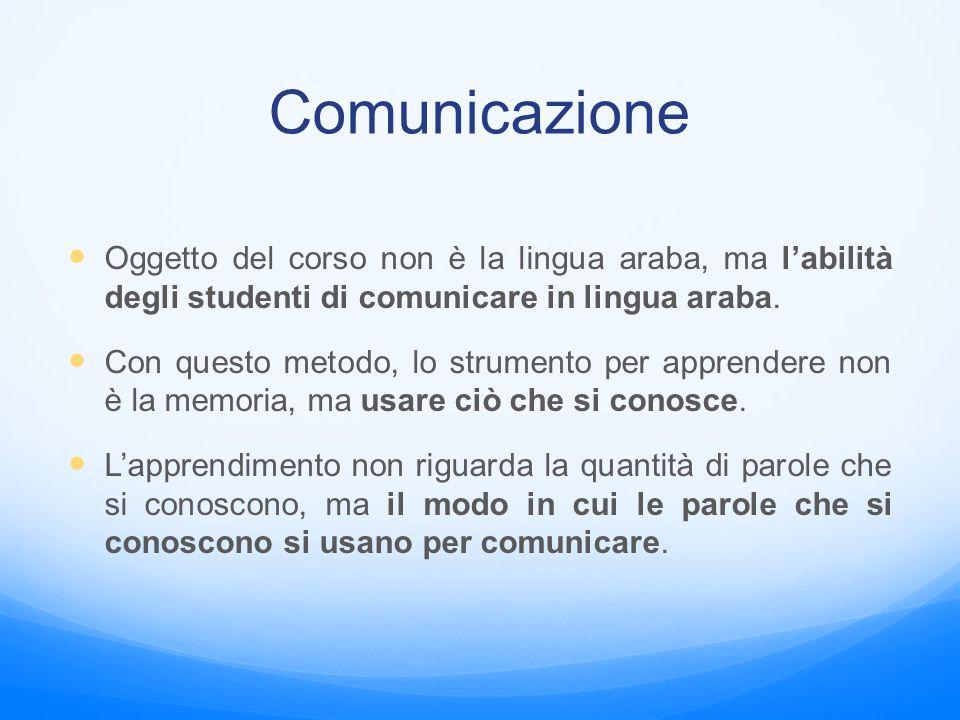 Comunicazione Oggetto del corso non è la lingua araba, ma l'abilità degli studenti di comunicare in lingua araba.