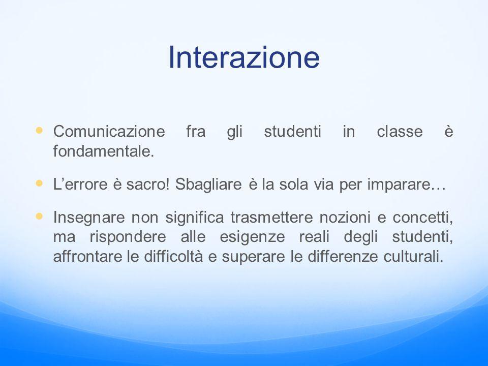 Interazione Comunicazione fra gli studenti in classe è fondamentale.