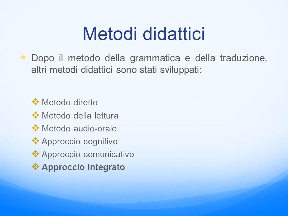 Metodi didattici Dopo il metodo della grammatica e della traduzione, altri metodi didattici sono stati sviluppati: