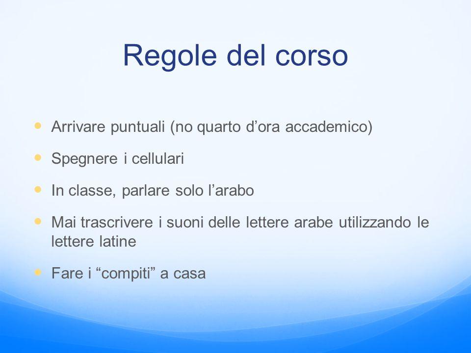 Regole del corso Arrivare puntuali (no quarto d'ora accademico)