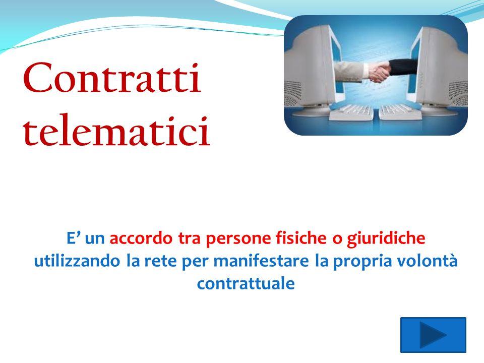Contratti telematici E' un accordo tra persone fisiche o giuridiche utilizzando la rete per manifestare la propria volontà contrattuale.