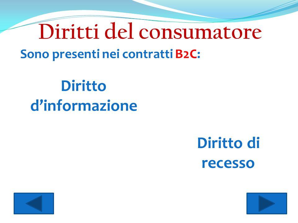 Diritti del consumatore Diritto d'informazione