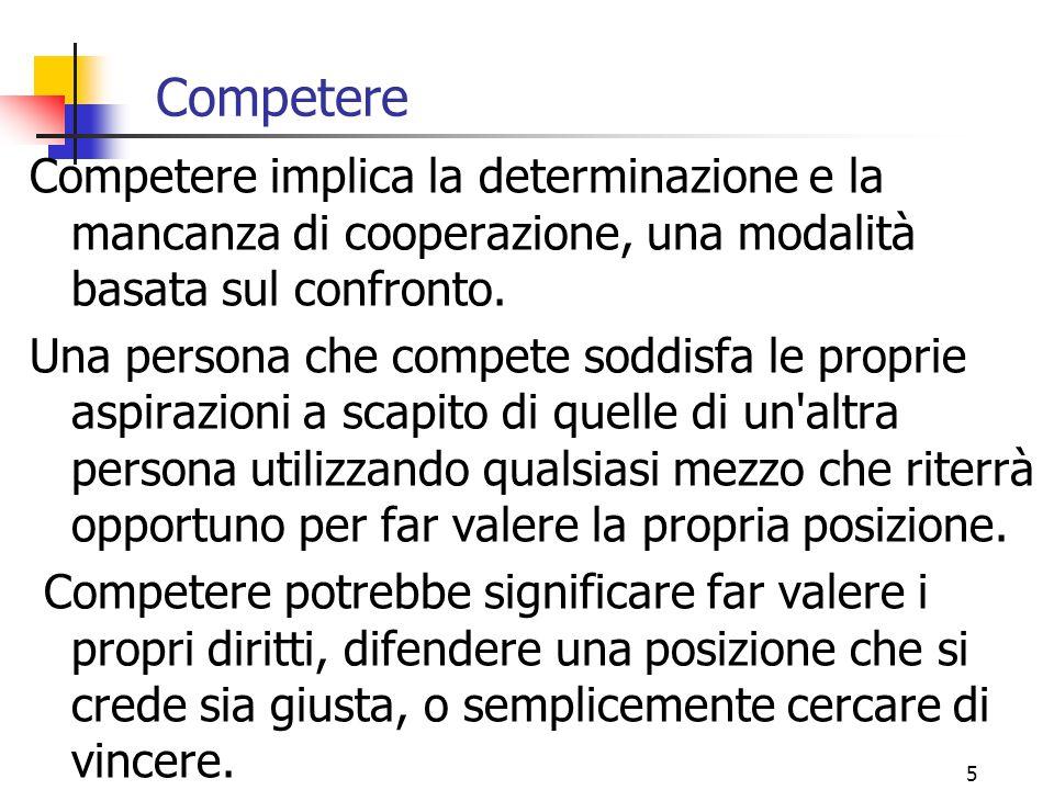 Competere Competere implica la determinazione e la mancanza di cooperazione, una modalità basata sul confronto.