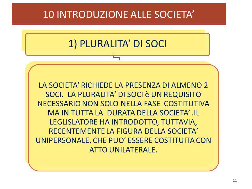 10 INTRODUZIONE ALLE SOCIETA'