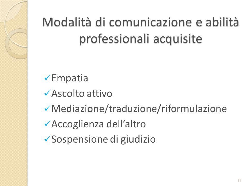 Modalità di comunicazione e abilità professionali acquisite