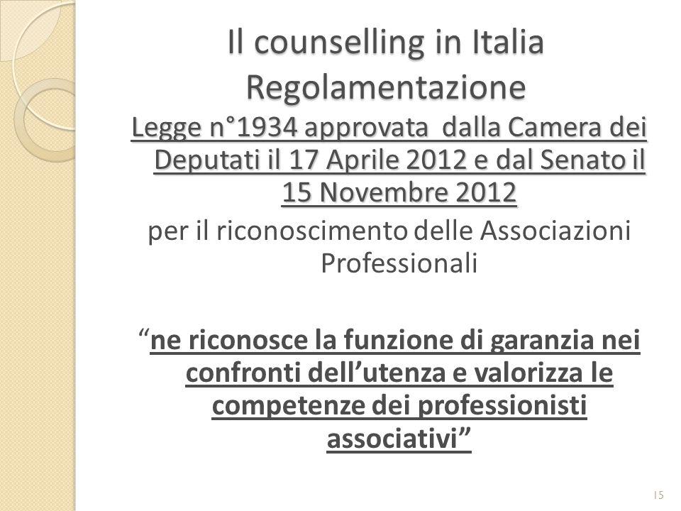 Il counselling in Italia Regolamentazione