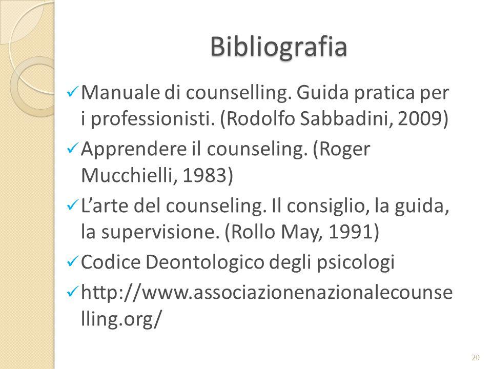 Bibliografia Manuale di counselling. Guida pratica per i professionisti. (Rodolfo Sabbadini, 2009)