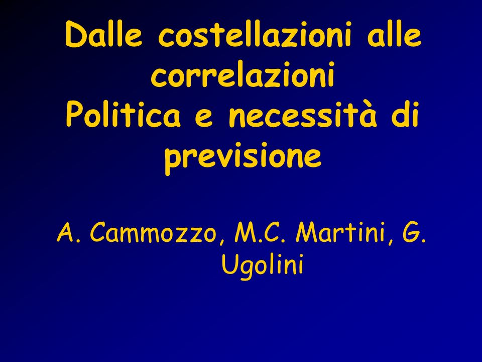 A. Cammozzo, M.C. Martini, G. Ugolini