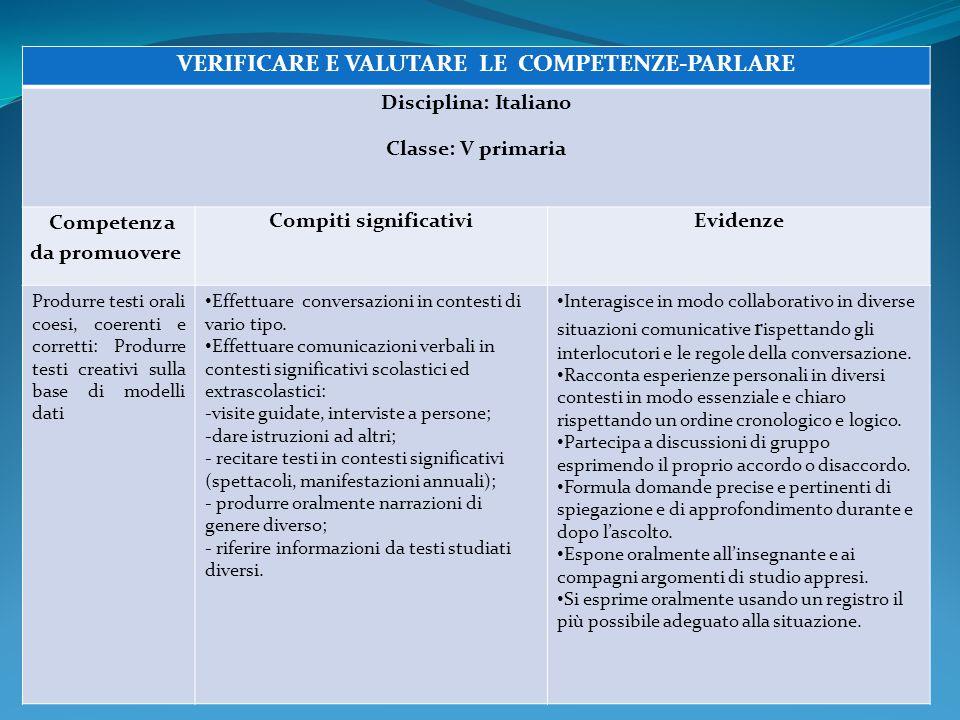 VERIFICARE E VALUTARE LE COMPETENZE-PARLARE Compiti significativi