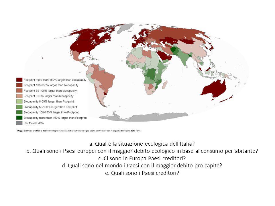 a. Qual è la situazione ecologica dell Italia. b