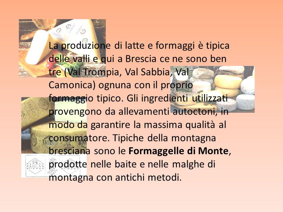 La produzione di latte e formaggi è tipica delle valli e qui a Brescia ce ne sono ben tre (Val Trompia, Val Sabbia, Val Camonica) ognuna con il proprio formaggio tipico.
